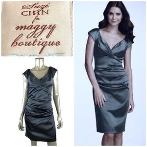 Suzi Chen for Maggy Boutique Gray Ruched Dress